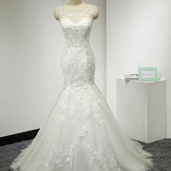 Mermaid Wedding Dress,Tulle Wedding Dresses with Lace Appliques