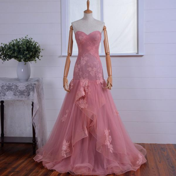 Pink Evening Dress,A Line Party Dresses, strapless prom dress