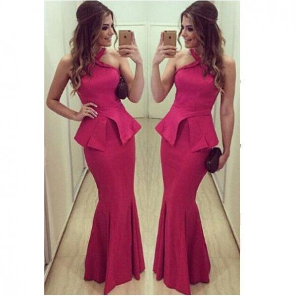 Halter neck  Evening Dress,Mermaid Party Dresses,Rose red Prom Dress