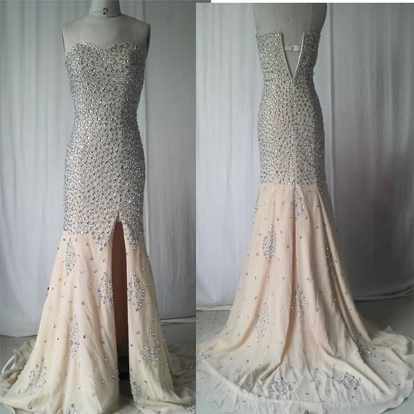 Mermaid Evening Dress,Backless Party Dresses,Long Prom Dress with Beading