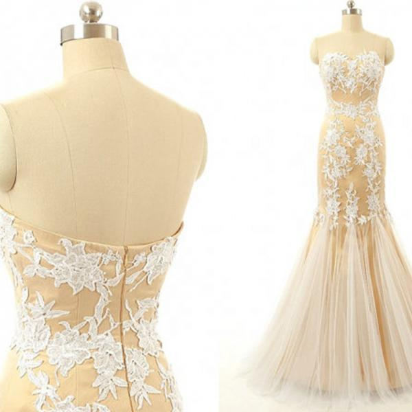 Long Evening Dress,Mermaid Evening Dresses,Backless Evening Formal Dress with Lace Appliques