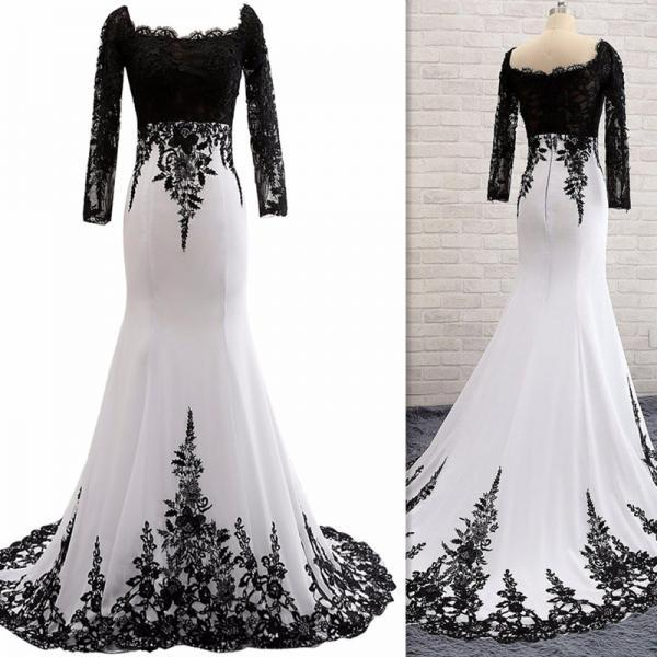 Sexy Full Sleeve Evening Gowns ,Mermaid Lace Prom Dress Formal Evening Dress,Backless Evening Dress, Formal Dress
