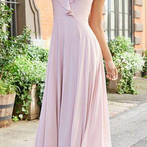 Elegant Chiffon & Stretch Satin Spaghetti Straps Dress, Neckline A-line Bridesmaid Dress