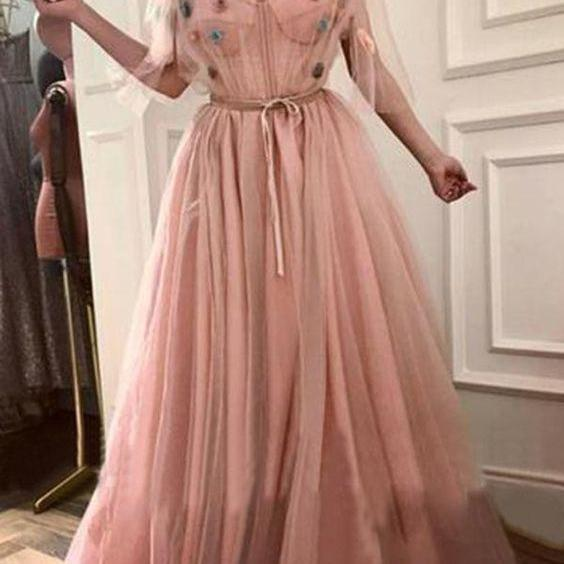 Chic Pink Prom Dress, Tulle Cheap Long Prom Dress,half sleeve evening dress