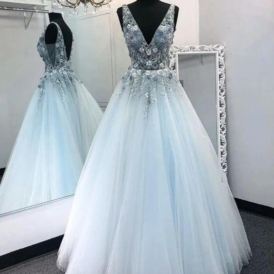 Light Blue prom dress Tulle party dress V Neck Long dress A Line Prom Dress Formal Dress Graduation Dress from Sweetheart Dress appliques evening dress