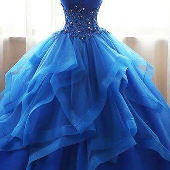 Chic Ball Gowns Strapless prom dress Royal Blue evening dress Beading Applique party drss Long Tulle Prom Dress Evening Dress