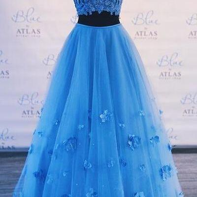 Two Piece prom dress Blue Prom Dress Off-The-Shoulder party dress A Line formal dress Long Graduation Gown the new prom dress
